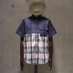 White Mountaineering COTTON CHECK PIGMENT PRINT HALF SLEEVE SHIRT24150yen