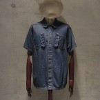 White Mountaineering 4.5OZ DENIM VINTAGE WASH MILITARY SHORT SLEEVE SHIRT26250yen