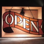 HEAVOGON Stained Glass Open Sign Brown Orange41790yen