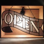 HEAVOGON Stained Glass Open Sign Gray Black41790yen