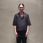 「SUNSEA」 Cotton Fried Shrimp Shirt/Black 税抜き24000yen+税