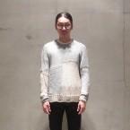 「SUNSEA」 Spider Sweater-Hand Knitting/Blue Beige Mix 税抜き55000yen+税