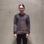 「SUNSEA」 Spider Sweater-Hand Knitting/Navy Brown Mix 税抜き55000yen+税