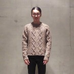 「SUNSEA」 Reversible Fisherman Sweater/Camel Brown Mix 税抜き55000yen+税